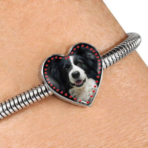 Border Collie Print Heart Charm Steel Bracelet