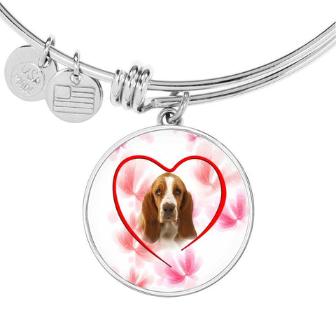 Basset Hound Print Luxury Circle Charm Bangle
