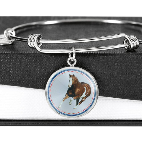 American Paint Horse Print Circle Pendant Luxury Bangle