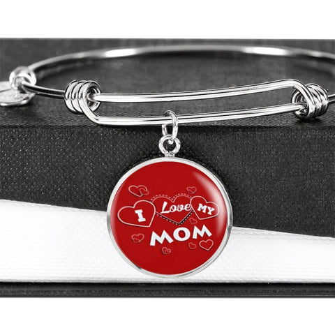 'I Love MY MOM' Red Print Circle Pendant Luxury Bangle