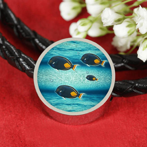 Achilles Tang Fish Print Luxury Circle Charm Leather Bracelet
