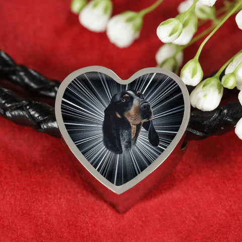 Bluetick Coonhound Dog Print Heart Charm Leather Bracelet