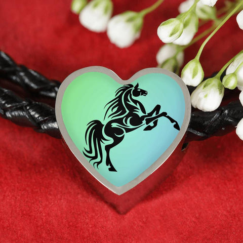 Amazing Horse Vector Print Heart Charm Leather Woven Bracelet