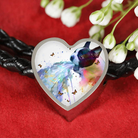 Amazing Colorful Boston Terrier Print Heart Charm Leather Bracelet