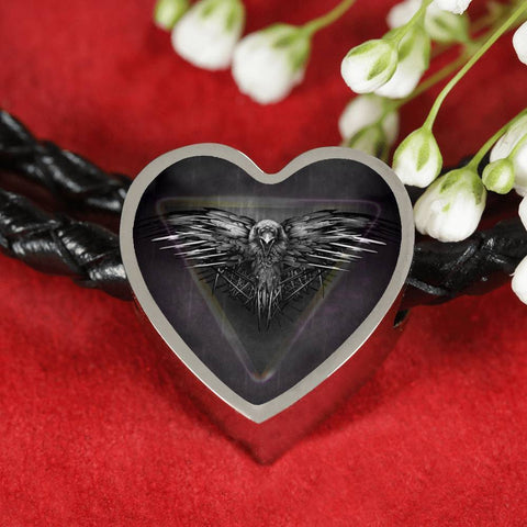 Amazing Eagle Print Heart Charm Leather Woven Bracelet