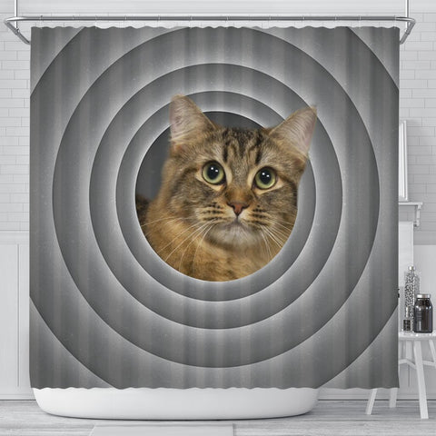 American Bobtail Cat Print Shower Curtain