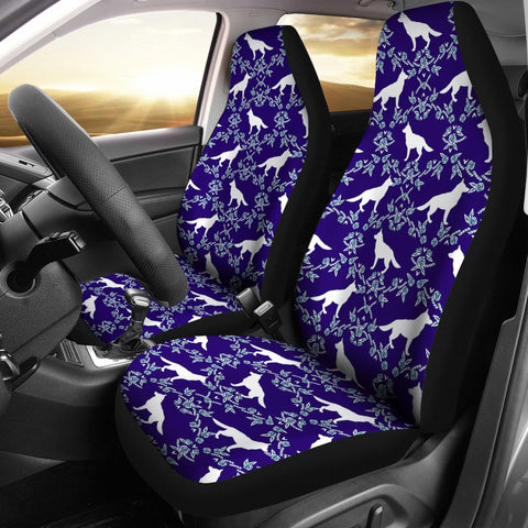 German Shepherd Dog Floral Print Car Seat Covers