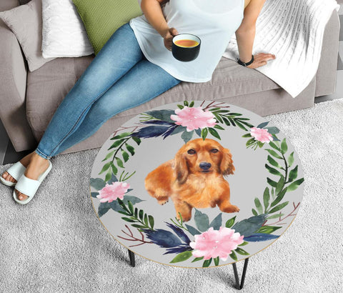 Dachshund Dog Floral Print Circular Coffee Table