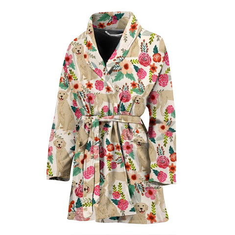 Golden Retriever Dog Floral Print Women's Bath Robe