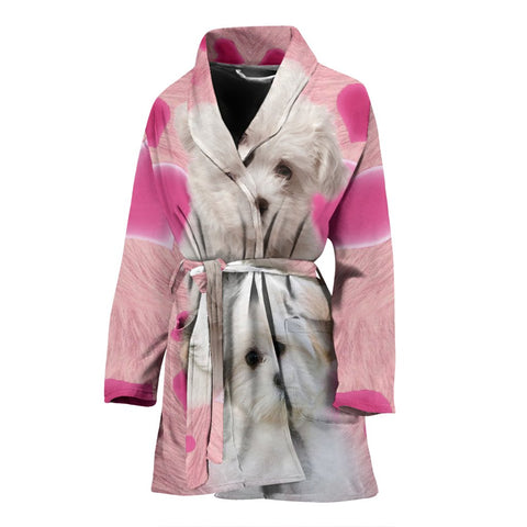 Maltese On Pink Print Women's Bath Robe