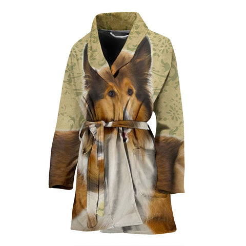 Cute Collie Print Women's Bath Robe