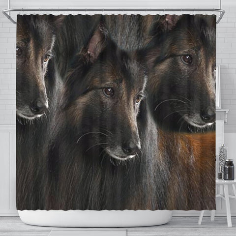 Belgian Tervuren Dog Print Shower Curtain