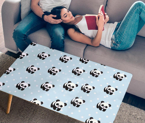 Cute Panda Patterns Print Rectangular Coffee Table