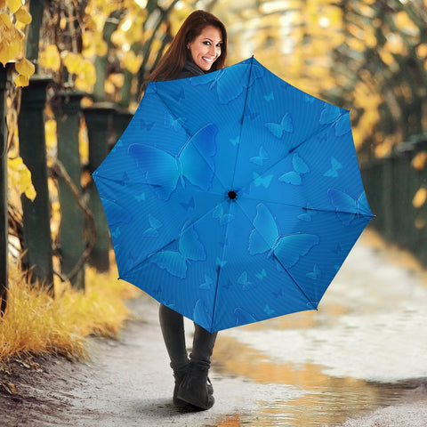 Blue Butterfly Print Umbrellas