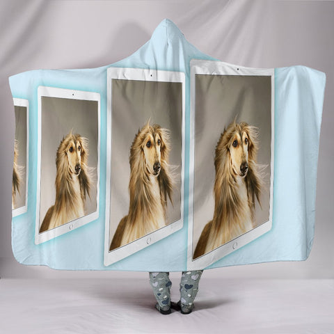 Afghan Hound Tablet Print Hooded Blanket