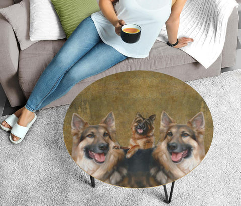 German Shepherd Dog Print Circular Coffee Table