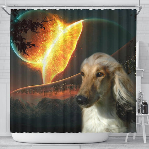 Amazing Afghan Hound Dog Print Shower Curtain