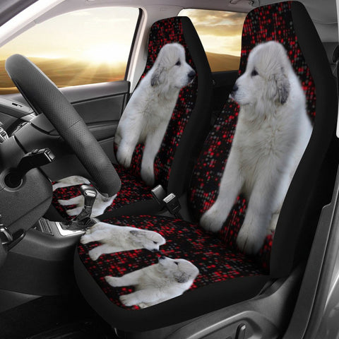 Great Pyrenees Dog With Red Dots Print Car Seat Coves