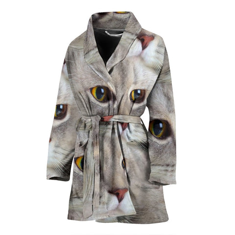 Cute Scottish Fold Cat Print Women's Bath Robe