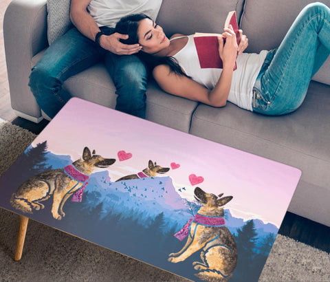 German Shepherd Dog Art Print Rectangular Coffee Table