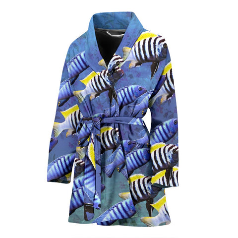 Cynotilapia Afra Fish Print Women's Bath Robe