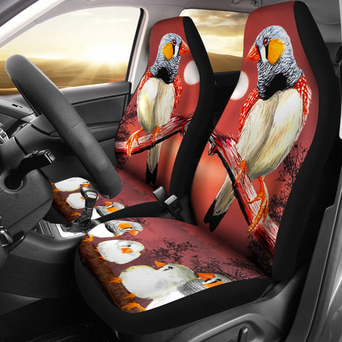 Zebra Finch Bird Print Car Seat Covers