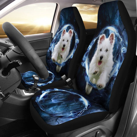 West Highland White Terrier On Blue Print Car Seat Covers