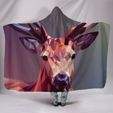 Amazing Deer Vector Art Print Hooded Blanket