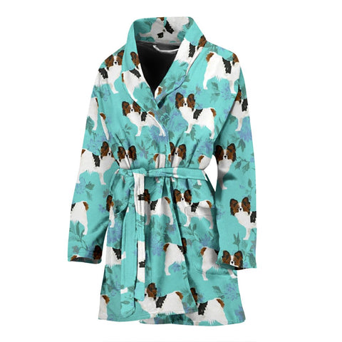 Papillon Dog Pattern Print Women's Bath Robe
