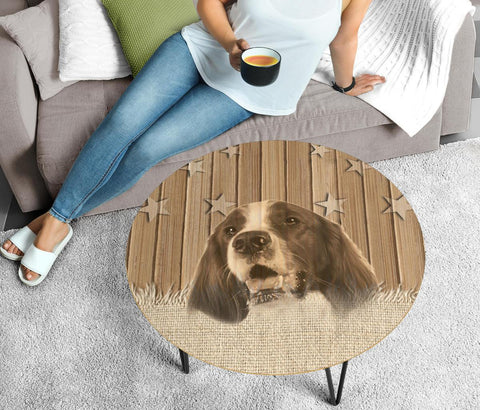 Irish Red And White Setter Dog Print Circular Coffee Table