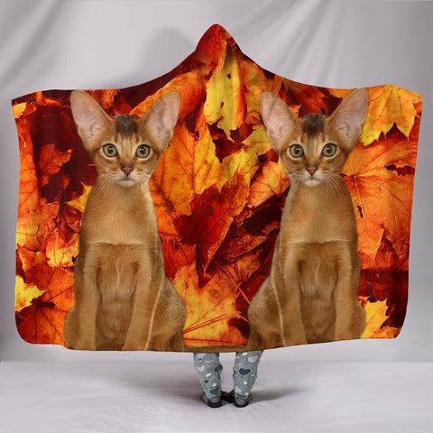 Abyssinian Cat Print Hooded Blanket