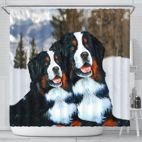 Bernese Mountain Dog Nature Print Shower Curtains