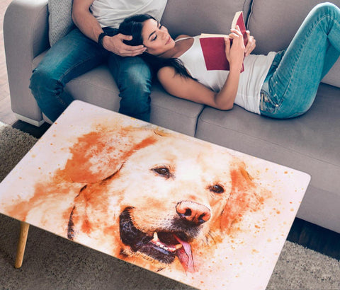 Labrador Retriever Dog Watercolor Art Print Rectangular Coffee Table