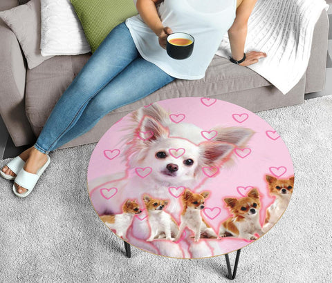 Chihuahua On Pink Print Circular Coffee Table