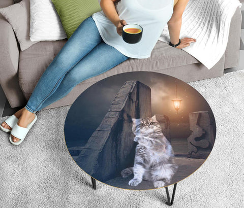 Cute Exotic Shorthair Cat Print Circular Coffee Table