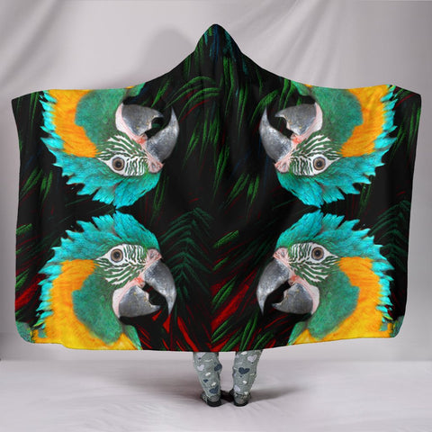 Blue Threaded Macaw Parrot Print Hooded Blanket