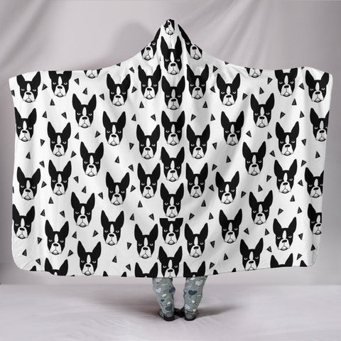 Boston Terrier Pattern Print Hooded BlanketLimited Edition