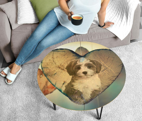 Cavapoo Coffee Print Circular Coffee Table