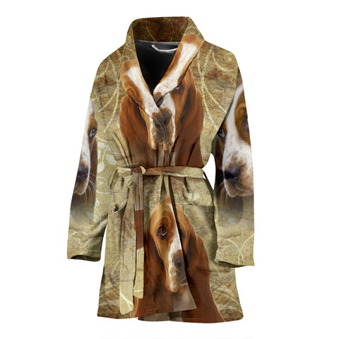 Cute Basset Hound On White Print Women's Bath Robe