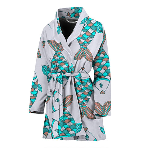 Fish Patterns Print Women's Bath Robe