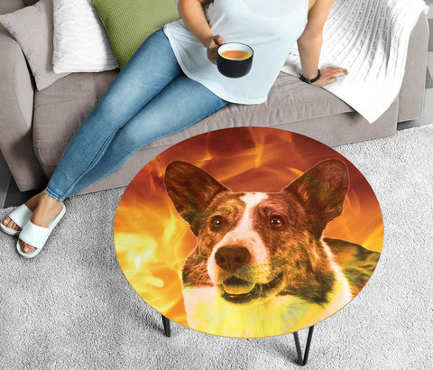 Cardigan Welsh Corgi Print Circular Coffee Table- Limited Edition