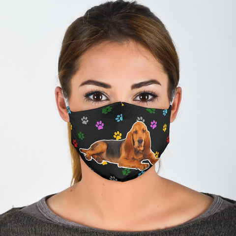 Bloodhound Dog Paws Print Face Mask