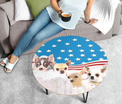 Chihuahua Mount Rushmore Print Circular Coffee Table