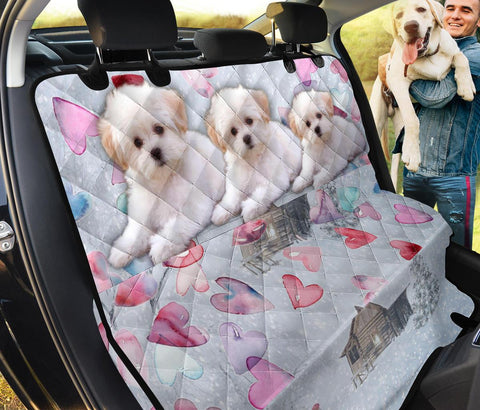 Maltese On Heart Print Pet Seat Covers- Limited Edition
