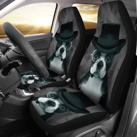 Boston Terrier On Black Print Car Seat Covers