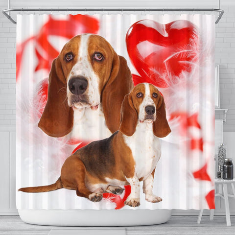Basset Hound On Red Print Shower Curtains
