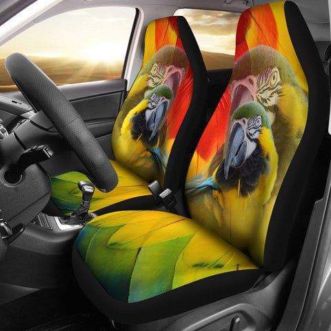 Blue and Yellow Macaw Print Car Seat Covers