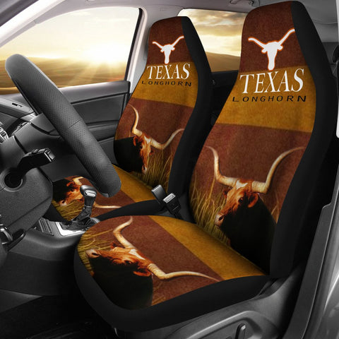 Amazing Texas Longhorn Cattle (Cow) Print Car Seat Covers