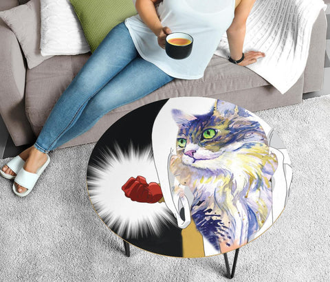 Norwegian Forest Cat Art Print Circular Coffee Table