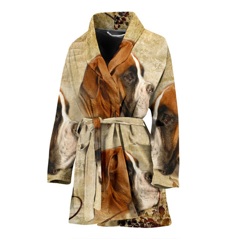 Lovely Boxer Print Women's Bath Robe